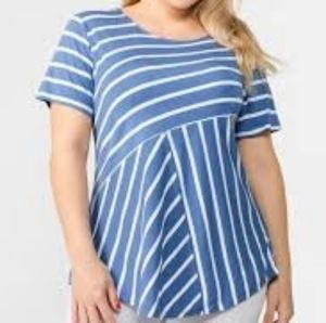 NWT blue and white striped tee - 3X